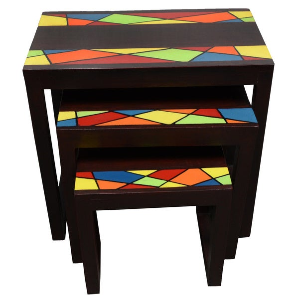 French Stamped Mango Coffee Table: [Handmade] Ahomka Nested Table Set (Ghana)