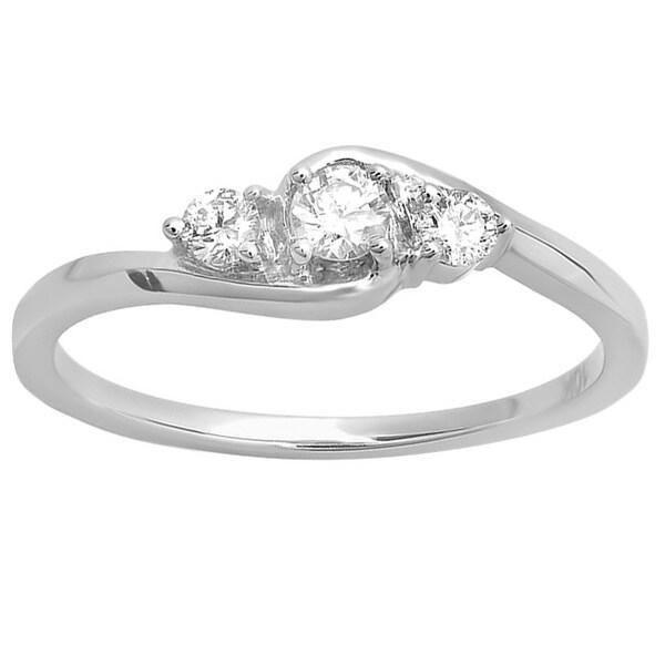 Elora 10k White Gold 1/4ct TDW Three-Stone Diamond Promise Ring