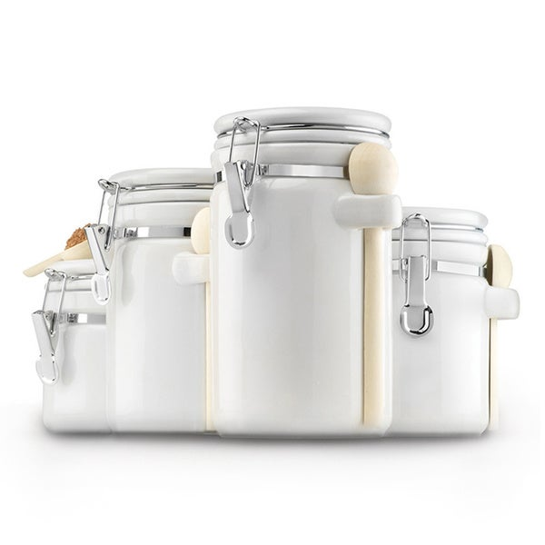 White Ceramic 4-piece Canister Set