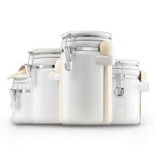 White Ceramic 4-piece Canister Set
