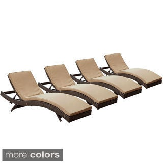 Peer Brown Mocha Outdoor Patio Chaise Set of 4
