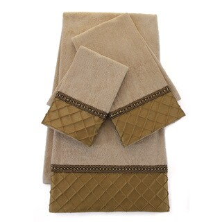Sherry Kline Pleated Diamond Royal Gold Embellished 3-piece Towel Set