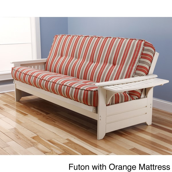 Ali Phonics Multi Flex Futon Frame In Antique White Wood With Innerspring Mattress And Drawers