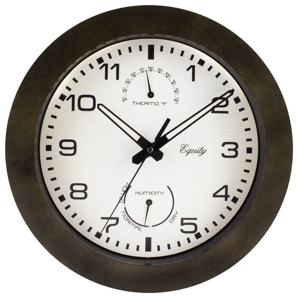 """Equity by La Crosse 29005 10"""" IN/OUT Quartz Wall Clock with Thermometer"""