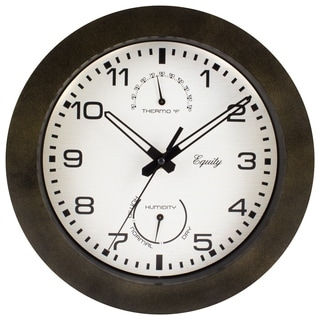 Equity '29005' 10-inch Brown Outdoor Thermometer/ Humidity Wall Clock