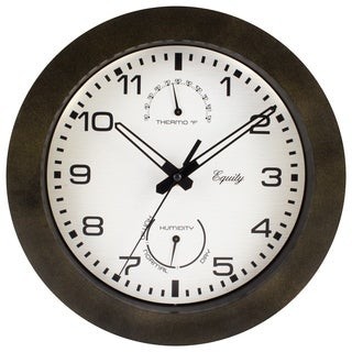 "Equity by La Crosse 29005 10"" IN/OUT Quartz Wall Clock with Thermometer"
