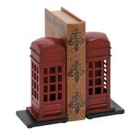Copper Grove Chatfield English Phone Booth Metal Bookend Pair