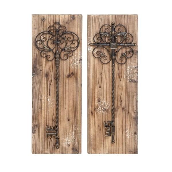 Enchanting Aged Wood Key Door Wall Plaques