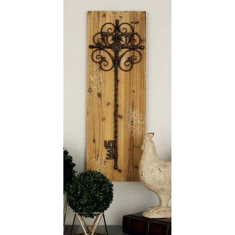 Set of 2 Rustic 36 Inch Rectangular Wall Plaques by Studio 350 - Grey/Brown