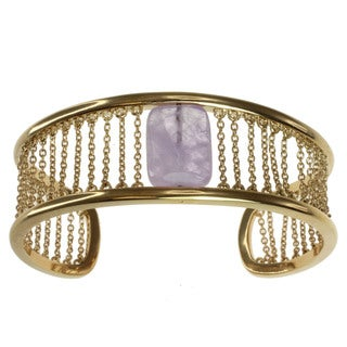 "Michael Valitutti/ Kristen Gold over Silver Amethyst ""Chains"" Cuff Bracelet"