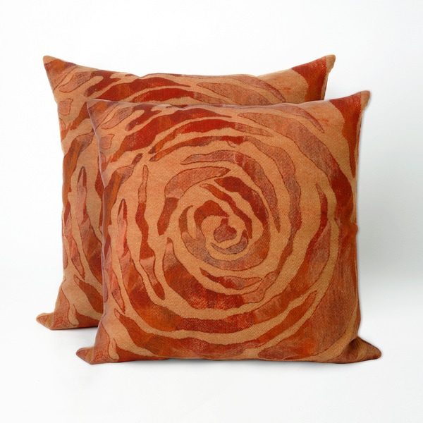 Dyed Roses Orange 20 inch Decorative Throw Pillow (Set of 2)