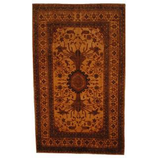 Herat Oriental Afghan Hand-knotted Vegetable Dye Beige/ Gold Wool Rug (7' x 11'9)