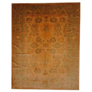 Herat Oriental Egyptian Hand-knotted Vegetable Dye Gold/ Green Wool Rug (7'10 x 10)