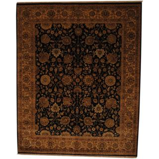 Herat Oriental Indo Hand-knotted Vegetable Dye Black/ Ivory Wool Rug (8' x 10')