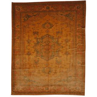Herat Oriental Egyptian Hand-knotted Vegetable Dye Gold/ Peach Wool Rug (8' x 10'7)