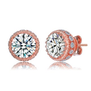 Collette Z Sterling Silver with Rhodium Plated Clear Round Cubic Zirconia Stud Earrings