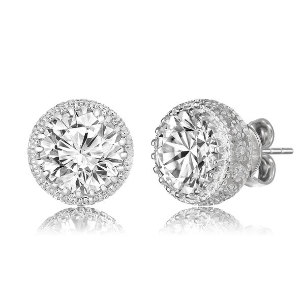 55e498447 Collette Z Sterling Silver with Rhodium Plated Clear Round Cubic Zirconia Stud  Earrings
