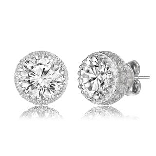 Collette Z Sterling Silver Round-cut Cubic Zirconia Earrings