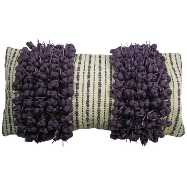 Hand Woven Purple 'Funberry' Two-tone Twin Stripe Throw Pillow