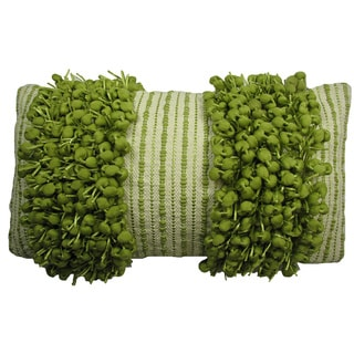 Hand Woven Green 'Funberry' Two-tone Twin Stripe Throw Pillow