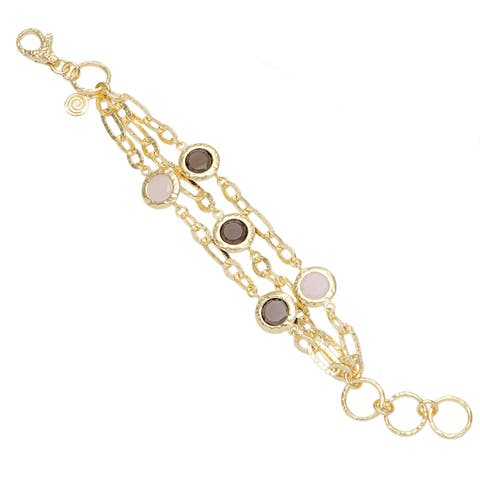 18k Gold Overlaid Bronze Multi-strand Rose Quartz and Smokey Bead Bracelet
