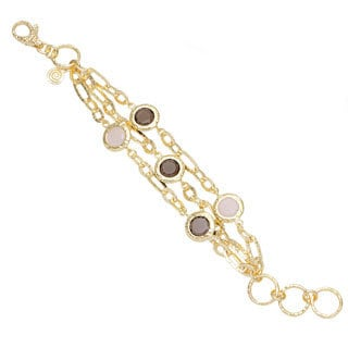 18k Gold Overlaid Bronze Multi-strand Rose Quartz and Smokey Bead Bracelet
