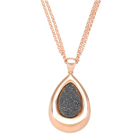 Gold Overlaid Bronze 2.5-inch Tear Drop Drusy Pendant Extendable Necklace