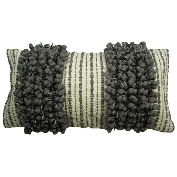 Hand Woven Grey 'Funberry' Two-tone Twin Stripe Throw Pillow