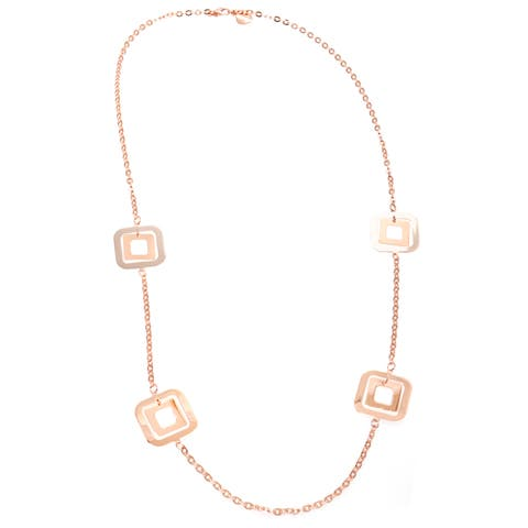 Gold Overlay Stationed Open Cut Square Discs Long Cable Chain Necklace