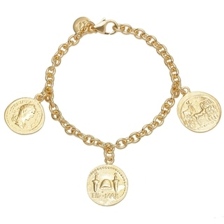18k Gold Overlaid 71/4-inch Bronze Yellow Coin Bracelet