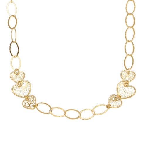 Forever Last 18 k Yellow Goldplated 28-inch Filigree Heart Stationed Necklace