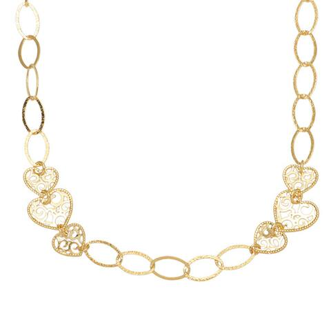 """Bronzoro18 k Yellow Gold plated 28"""" Filigree Heart Stationed Necklace"""
