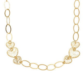 18k Yellow Goldplated 28-inch Filigree Heart Stationed Necklace
