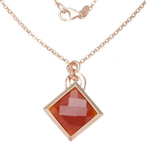 Forever Last 18 k Rose Goldplated Red Carnelian Necklace