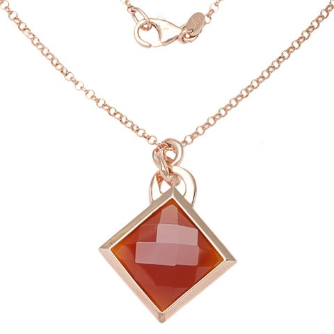 18k Rose Goldplated Red Carnelian Necklace