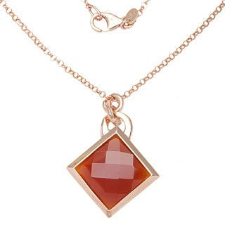 Rose Goldplated Red Carnelian Necklace