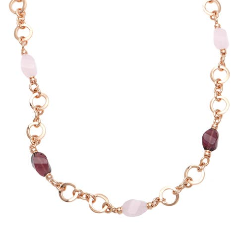 18 k Rose Goldplated Stationed Amethyst and Rose Quartz Necklace