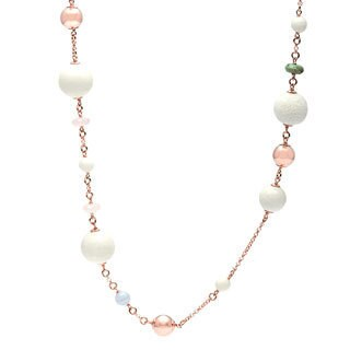 Gold Overlay Multi-gemstone Rolo Chain Necklace