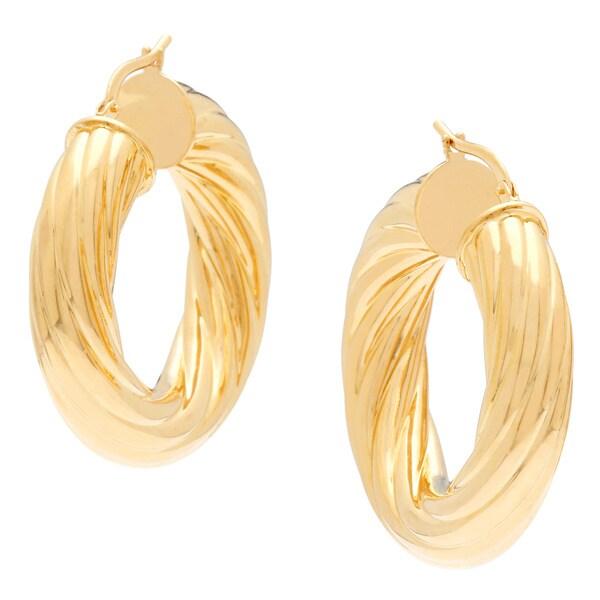 18k Yellow goldplated Twisted Rope Hoop Earrings