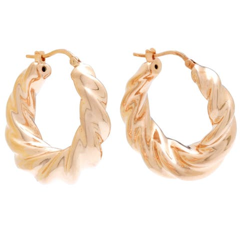 Forever Last 18 k Rose Goldplated Bronze Twist Hoop Earrings