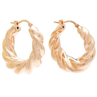 Rose Goldplated Bronze Twist Hoop Earrings