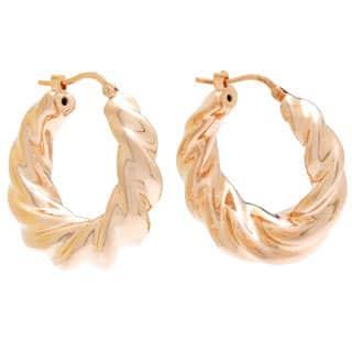 Rose Goldplated Bronze Twist Hoop Earrings