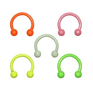 Supreme Jewelry Anodized Steel Neon Horseshoe Barbells (Set of 5)