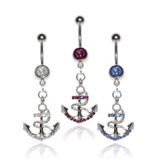 Supreme Jewelry Surgical Steel and CZ Anchor Belly Rings (Set of 3)