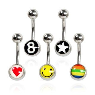 Supreme Jewelry Surgical Steel Logo Design Belly Rings (Set of 5)