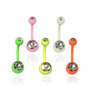 Supreme Jewelry Anodized Steel Neon Double Jeweled Belly Rings (Set of 5)