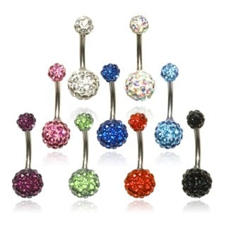 Supreme Jewelry Surgical Steel Crystal Covered Belly Rings (Set of 9)