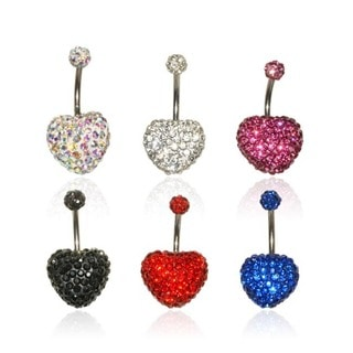 Supreme Jewelry Steel Heart Shaped Crystal Covered Belly Rings (Set of 6)