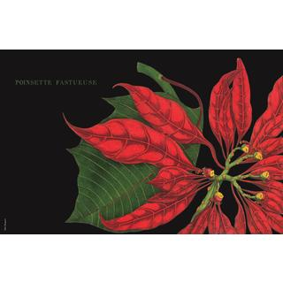Poinsettia Stain-resistant Reusable Paper Placemats (Set of 6)