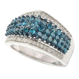 Sterling Silver 1 1/3ct TDW Blue and White Pave Diamond Ring